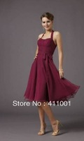 Burgundy Halter XS-2XL 3XL Knee-Length Cocktail Dress in Stock XS S M L XL XXL 3XL 4XL