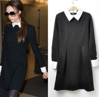 Fashion Women Contrast Collar Long Sleeve Turn-down Collar Casual Slim Fit Black Skirt Straight Knee-length Dress WF-3818