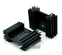 Free shipping  50pcs TO-220 black Heatsink Heat Sink for Voltage Regulator Isolation Kit  with 2pin