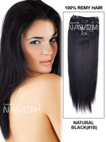 """2014 fashion 14"""" 7 Piece Silky Straight Clip In Indian Remy Human Hair Extension - 1B fast shipping"""