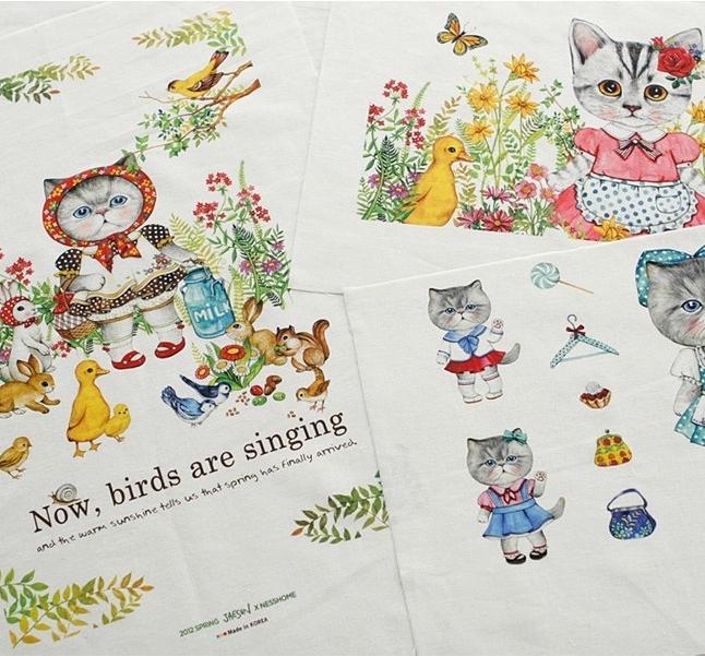 zakka style DIY cute cat cotton fabric, linen/cotton, 140cm*80cm, hand crafts patchwork usage(China (Mainland))