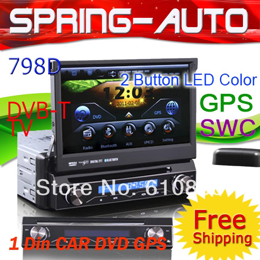 FREE SHIPPING 7 Inch 1 Din HD Touchscreen Car Mmulti-media ES798D DVD Built-in GPS ,DVB-T TV ,SWC,PiP,Free 4GB Card Gift(China (Mainland))