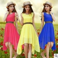 2014Summer Korean Slim Thin The dress Tank Dress Chiffon Dress  A1702