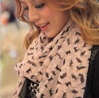 (MIX order 10$) Fashion Warm women's scarf  Lady Chiffon Sweet Cat Kitten Graffiti Scarf Shawl  c013