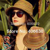 summer unisex women men straw fedora hat, sun beach hat cap, free shipping by China post