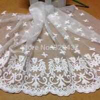 White cotton mesh embroidery lace 26CM