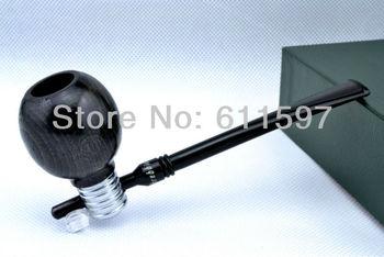 New Light bulb beech black smooth Apple straight shank smoking pipe