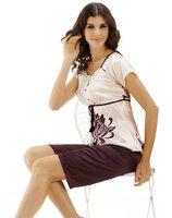LZ 2014 New arrival polyester silk women's lounge short-sleeve capris pants twinset sleepwear ladies pajama sets M L XL purple