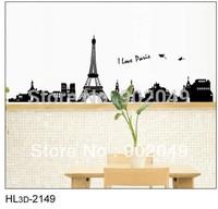 3pcs/lots 50x70cm removable wall stickers Eiffel Tower wall decal romantic love poem modern wallpaper KW- HL3d-2149