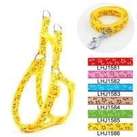 Wholesale Free shipping (6 colors)  6pcs/lot Classic Pet Dog Stars harness Leash Lead set 1.5cm