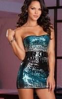 Good Quality 2014 Hot Seller Sexy Bling Strapless Slim Party Dress Belt  Women Sequin KTV Clubbing Performance Costume Blue Gold