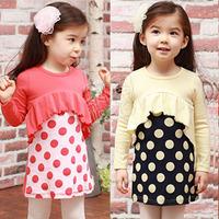 2013 Children's Dress  spring polka dot lotus leaf girls clothing baby long-sleeve dress qz-0425 (CC019N004)