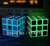 Free shipping Photo luminescent  glow in the dark magic cube  green and blue glowing color
