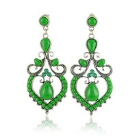 hot sale new arrival retro long peach heart drop earrings fashion resin hollow out earrings free shipping HeHuanEH001