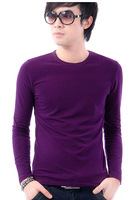 Free Shipping Classic Solid Color Round Collar Slim men&#39;s long-sleeved T-shirt Menswear 4colors  D777-t37