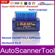2014 New Arrival Super MINI ELM327 OBD2 V2.1 Software  Professional Diagnostic Tool Elm 327 Bluetooth obd ii Free Shipping(China (Mainland))