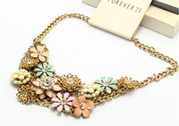 qdkbn0016 New short  Gold  Exaggerated flower elegant Collar Choker Necklace( Min Order $15 Mix order) Free Shipping
