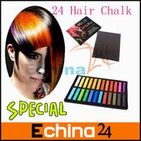 Fashion Non-toxic Temporary 24pcs Hair Mix Color Dye Pastel Chalk Bug Rub 24 Hair Color Chalk  Free Shipping