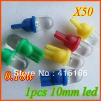 Free shipping 50pcs 12V 1 LED Car Indicator white Light Bulbs Wedge Lamp T10 1LED Round Interior Light
