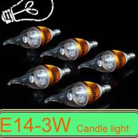 5PCS E14 3W 4W AC85~265V white/ wam white LED Candle Light LED pendant light Bulb