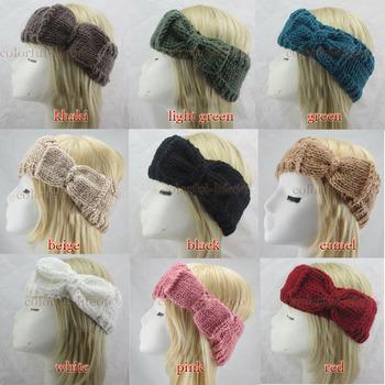 FREE SHIPPING Women Bow Crochet Headband Knit Loop HairBand Headwrap Winter Ear Warmer