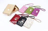 Wholesale High quality  Michaels Zipper  wallet Real leather case for iphone 5  iphone4 4S free shipping 10pcs/lot