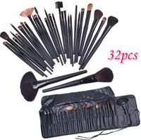 Professional 32pcs 32 pcs Cosmetic Facial Make up Brush Kit Makeup Brushes Tools Set + Black Leather Case Free Shipping