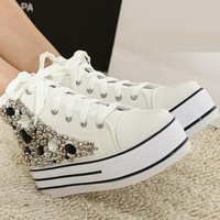 2013 new Women's lace-up casual Shoes. fashion solid Sneakers.thick sole high Upper leisure shoes diamond shoes sk2270