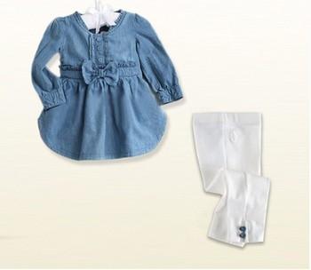 autumn Fashion Baby Girl's 2pcs suit sets long sleeve denim shirt dress +pants  trousers Children's sets suit set freeshiping