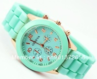 MIN ORDR $8  geneva watch jelly watch gift quartz wrist watch mint color  A0012