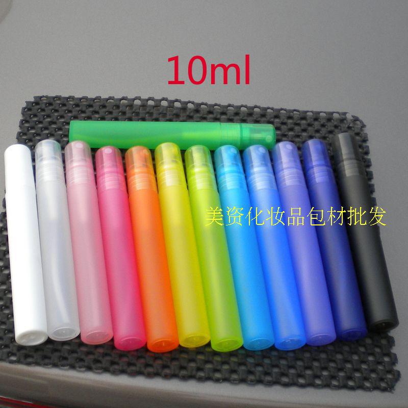 Wholesale 100pcs/lot 10ml Empty Translucence Plastic Spray Bottle Makeup Perfume Atomizer Refillable Bottles Print logo(China (Mainland))