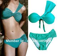 Free shipping 2Pcs Hot Sexy One Shoulder Halter Boho Padded Bikini Swimwear Swimsuit /Beachwea /Clubwear Green T47 S M L/ US 468