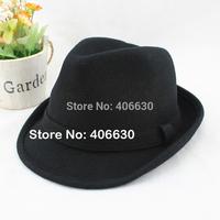 winter men's wool felt black fedora hat, trilby hat, Guaranteed 100% wool felt, free shipping by China post