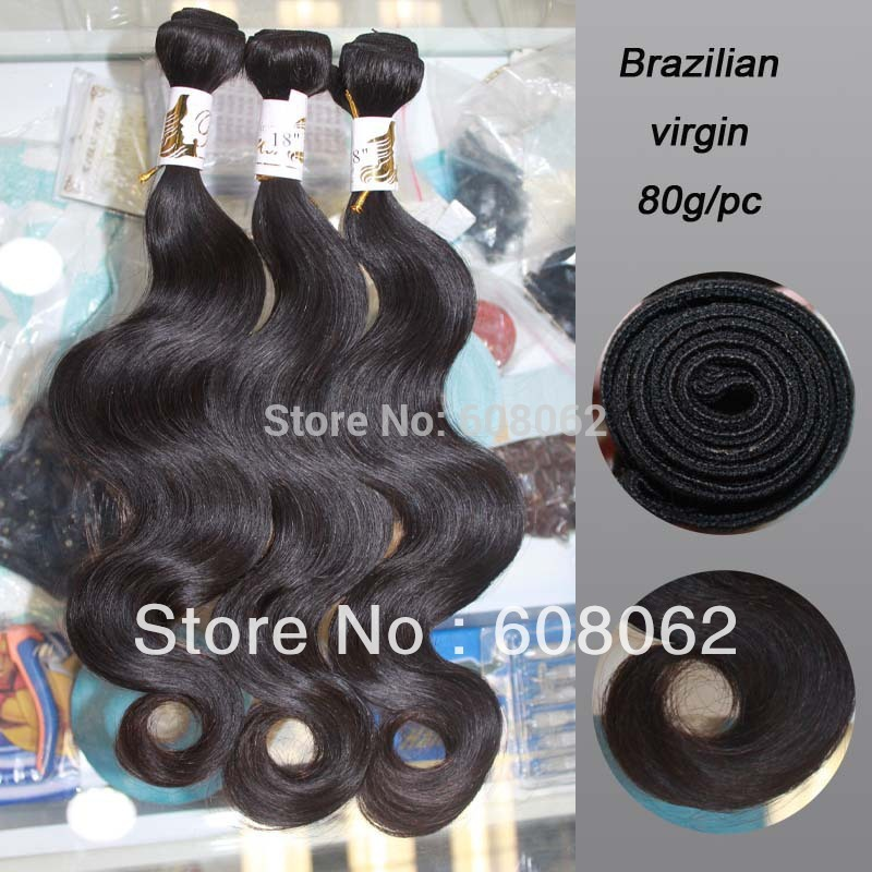 "Hot Sale !! Same length: 3pcs /lot 12""-28"" 100% brazilian virgin hair extension body wave natural color 80g=2.8oz/pc(China (Mainland))"