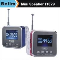 Free Shipping 6pcs/lot NiZHi TT029 Mini Speaker with LED Screen,Portable TF Card Speaker Support Lyrics Display/FM & 3 Languages