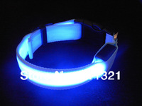 Free Shipping Hot Pet Dog Cat LED Glow Collar Nylon Electric Training Collars Products for Dogs 6 colors size S M L #3396