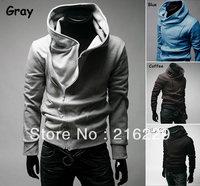 Hooded Clothes Jackets Men's Dust Coat High Collar Cotton Sports Zipper Hoodies Sweatshirts Top Brand Free Shipping M-3XL OL097