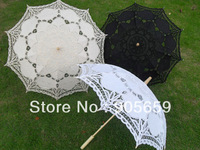 (50 pcs/lot) Handmade 38'' Plain White Ivory & Black Color Bridal Wedding Parasols