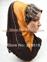 YAA475 Popular 2014 spring newest demin elastic 2pcs al amira hijab
