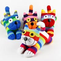 Christmas New Year Gifts 100% handmade DIY stuffed sock animals doll baby toys rainbow cat