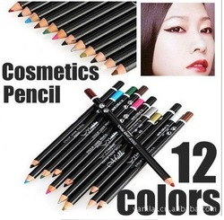 1set 12 Color Cosmetics Makeup Pen Waterproof Eyebrow Eye Liner Lip Eyeliner Pencil #yxb-01(China (Mainland))
