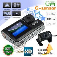 HOT selling !! HD 720P Dual Lens Dashboard Car vehicle Camera Video Recorder night vision DVR CAM G-sensor !! Free shipping
