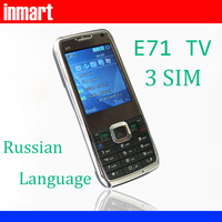 Cell phones 3 SIM E71 mini TV quad band unlocked mobile phone support Russian language N9 i5 F8 i9300 items
