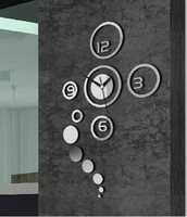 Home decoration!Mirror effect  ring wall clock Modern design,3D interior decoration living room,wall sticker watches,F9