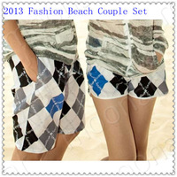 2013 Summer Couples Tee Shorts Checkerboard Blue Black White Blocked Beach pants Beachwear NS-018