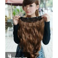 One Piece New Long Synthetic Curl/Curly/Wavy Clip In Hair Extensions Styling Stylish Queens Light Brown Hairpiece For Women