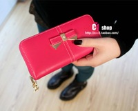 2013 New Tide Fashion  Metal Bowknot Single Zipper Pendant  Women's Wallet Punk Leather Wallet