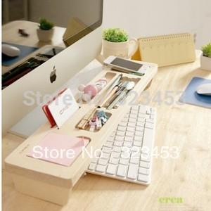 Free Shipping Wooden Office Room Multi-function Keyboard Storage Rack shelf Wood DeskTop tidy stationery Sundries Pen Holder(China (Mainland))