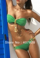 Sexy Bikini Set Women Padded Boho Fringe Pendant Top Strapless Dolly Bikini Swimwear Green Swimsuit Sexy Split Beachwear B14
