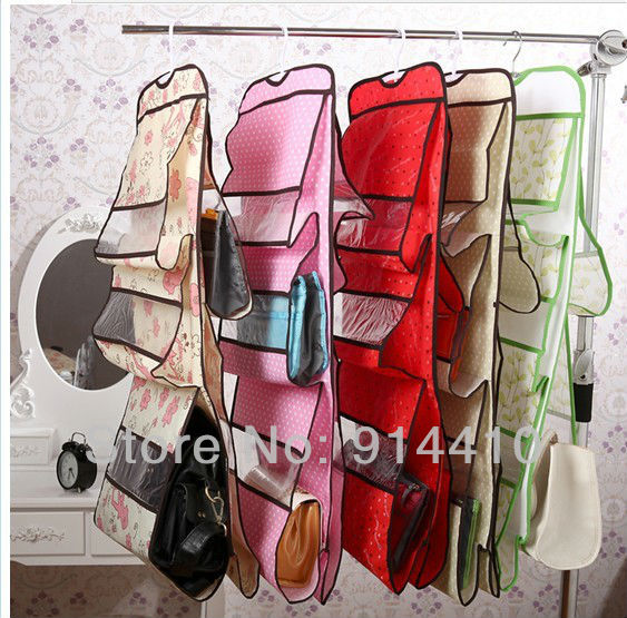 Free shipping foldable hanging wall pocket storage organizer for bag and purse 5 layers 2 pcs one lot pink red green khaki color(China (Mainland))
